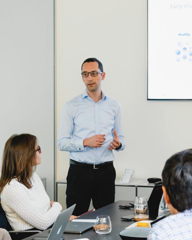 Swiss startup Scailyte CEO Peter Nestorov presenting at Hemex pitch event